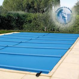 Bache à barres de sécurité norme P90*308 – 650g/m2 pour bassin de 4m x 8m avec escalier max 3,5m