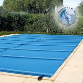 Bache à barres de sécurité norme P90*308 – 650g/m2 pour bassin de 5m x 10m sans escalier