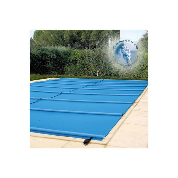 Bache barres de s curit norme p90 308 650g m2 pour for Bache pour bassin largeur 10 m